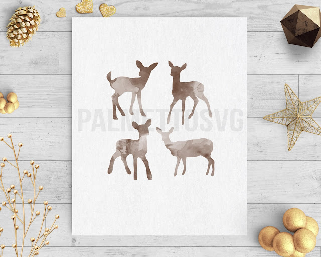 baby deer brown watercolor clip art svg dxf cut file silhouette cameo cricut download