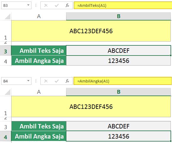 Memisahkan Teks dan Angka di Excel