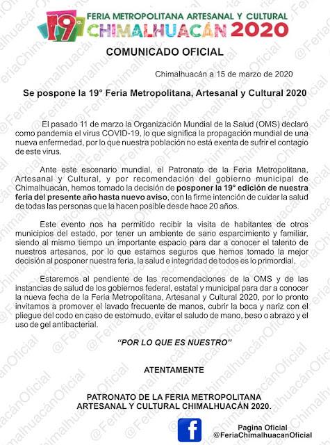 feria chimalhuacan suspendida 2020