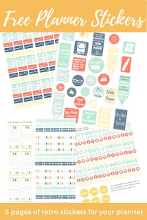 free retro planner stickers download