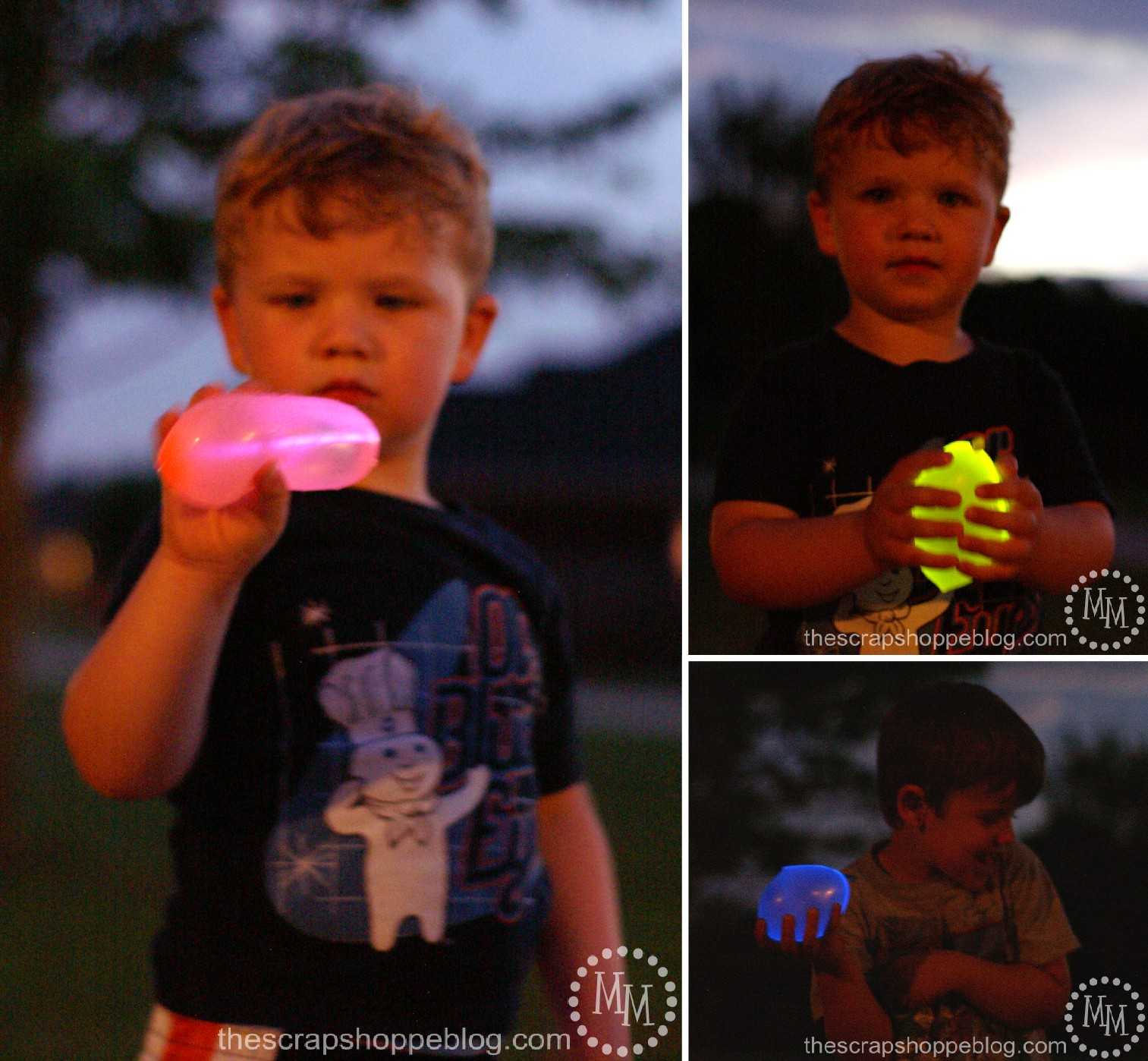 night time tag with glow in the dark water balloons