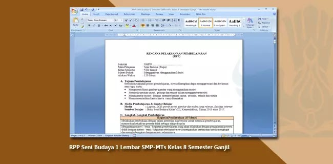 RPP Seni Budaya 1 Lembar SMP-MTs Kelas 8 Semester Ganjil