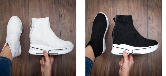 Sneakersi dama albi, negri inalti din material elastic