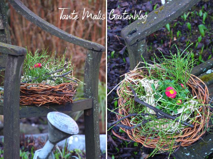 Nest aus Weide mit Bepflanzung