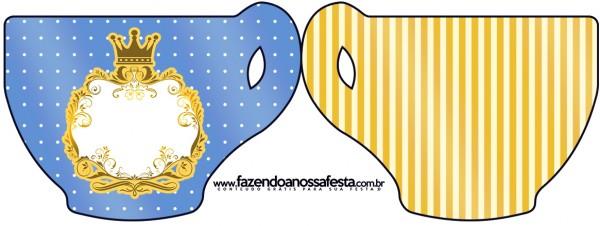 Tarjeta con forma de taza de Corona Dorada en Azul y Amarillo.