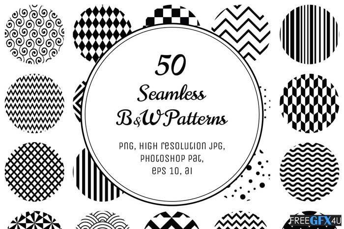 50 Geometric B&W Patterns