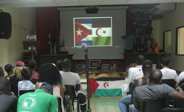 محاضرة عن كفاح الشعب الصحراوي خلال المخيم الشبابي الإفريقي-الكوبي الرابع