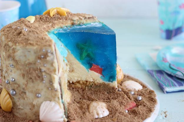 tarta playa con agua de gelatina o grenetina paso a paso.