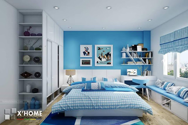 Phòng ngủ màu xanh dương