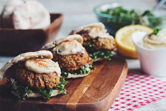 Baked Falafel Sliders with Tabbouleh and Maple Tahini Sauce