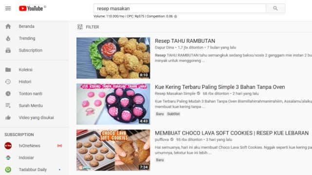 youtube untuk belajar masak untuk pemula