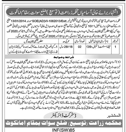 Agriculture Department Swat Jobs 2020