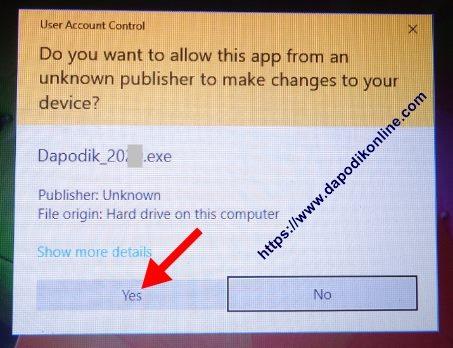 Klik yes jika ada tampilan User Account Control pada laptop