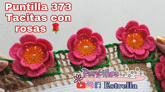 Decora toallas y manteles con esta puntilla de tacitas con rosas a crochet