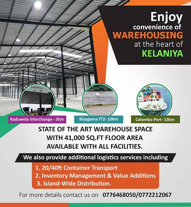 Warehousing at convenience in Kelaniya.