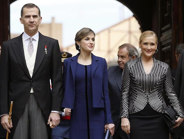 Queen Letizia attend 2016 Cervantes Awards Ceremony. Letizia wore Felipe Varela Dress, Tous Jewelers