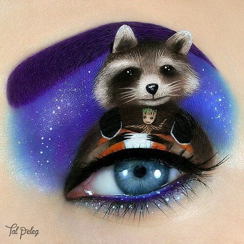 07-Rocket-Groot-Guardians-of-the-Galaxy-Tal-Peleg-Eye-Make-Up-Art-Drawings-www-designstack-co