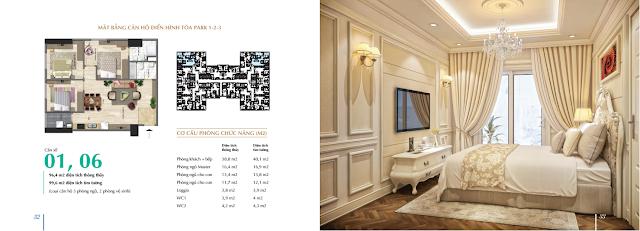Thiết kế và bố trí nội thất căn hộ 01-06 tòa Park 1-2-3