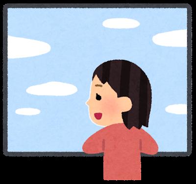 窓の外を見る人のイラスト(女性)