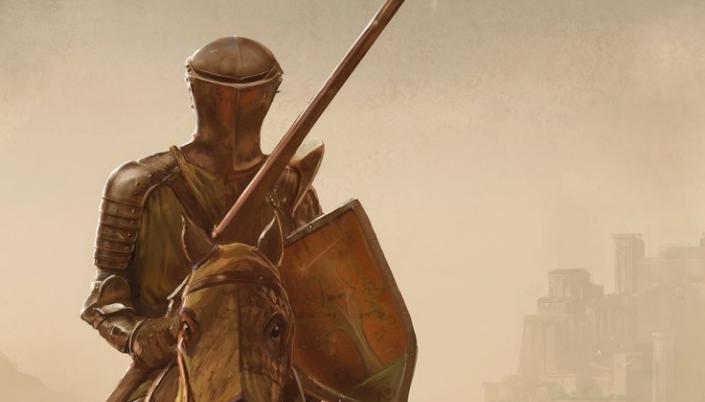 Imagem: ilustração de um cavaleiro em um cavalo num um contexto de uma justa. Ele veste a armadura completa e dourada. Tem um capacete que cobre seu rosto e ele segura uma longa lança de madeira e o um escuro também de madeira.