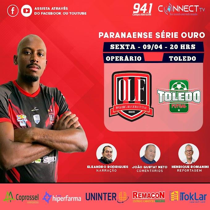 Operário enfrenta o Toledo pela Série Ouro de Futsal nesta noite de sexta, 9, com transmissão da Campo Aberto e Connect TV