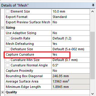 Capture curvature in ansys