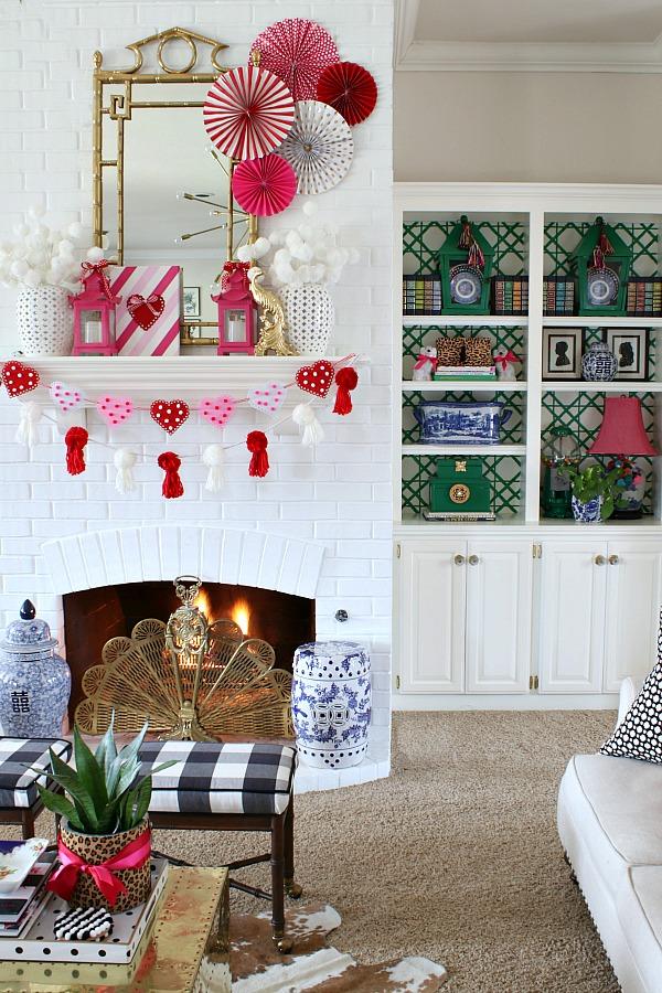Pom pom tassel garland, DIY heart garland, pagoda mirror, paper fans, pagoda lantern