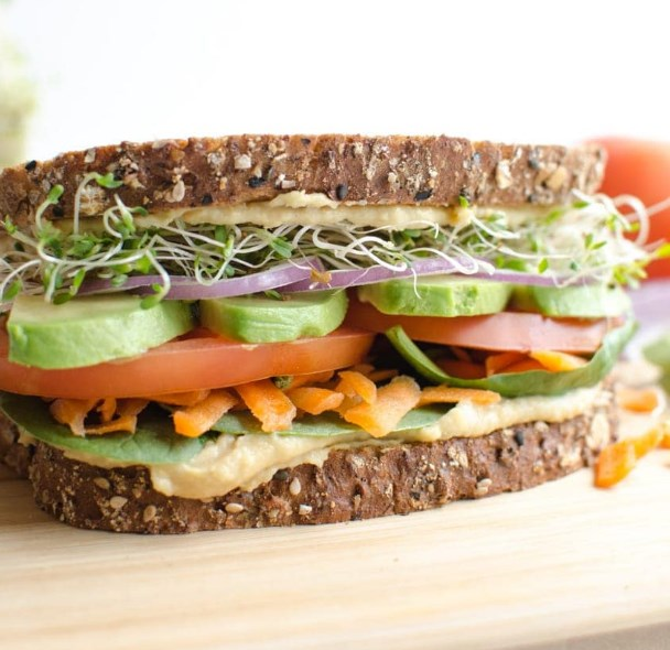 The Ultimate Hummus and Veggie Sandwich #vegetarian #healthy