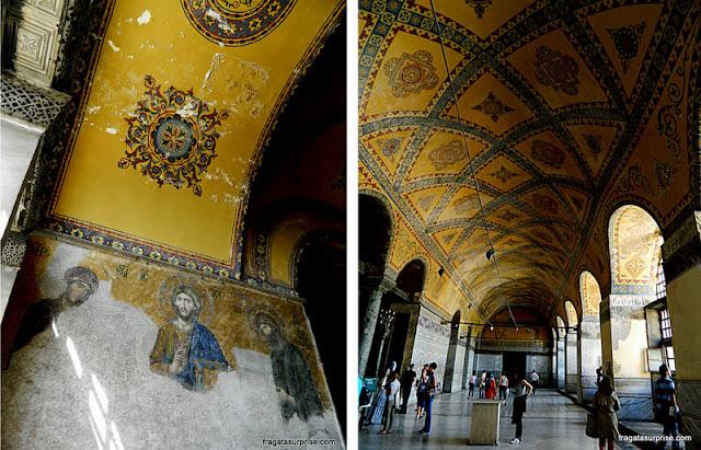 Decoração em motivos geométricos no interior da Basílica de Santa Sofia, Istambul