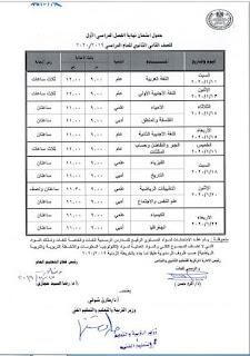 جدول امتحانات الصف الثاني الثانوي الفصل الدراسي الاول 2020