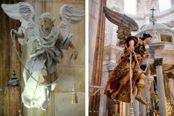Así lucen restaurados los ángeles lampareros del altar de la Catedral de Cádiz
