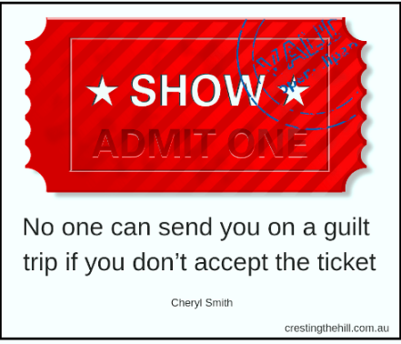 No one can send you on a guilt trip if you don't accept the ticket. #midlife #women #letgo