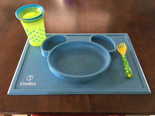 Suction toddler place mat plate, cup, fork on table