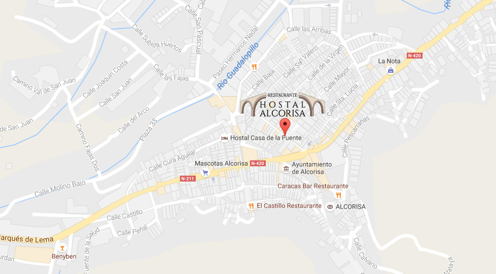 mapa restaurante hostal alcorisa