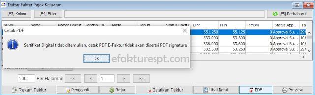 Cetak PDF e-Faktur Sertifikat Digital Tidak Ditemukan