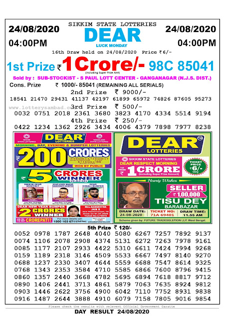 Lottery Sambad Result 24.08.2020 Dear Luck Monday 4:00 pm