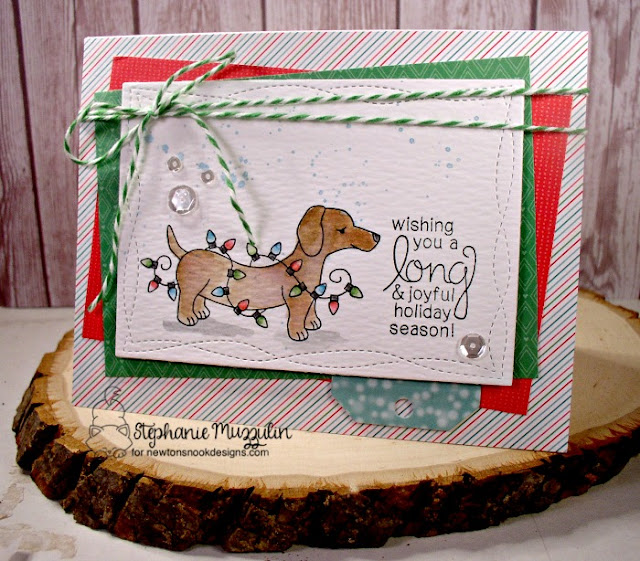 Dachshund Christmas Card by Stephanie Muzzulin | Inky Paws Challenge 38 | Beautiful Blizzard Stamp Set by Newton's Nook Designs #newtonsnook