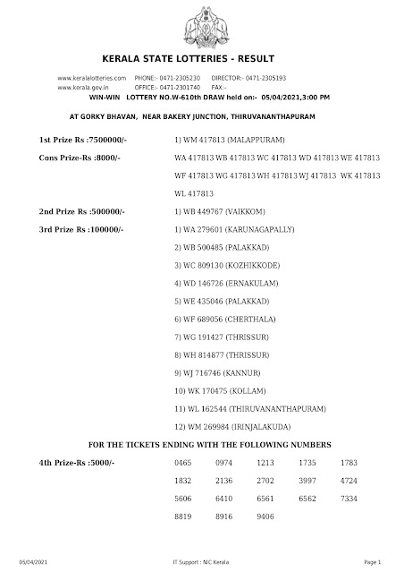 Keralalottery,Live Kerala Lottery Results Today 05-04-2021,Kerala Lottery Result Win Win,Win Win Lottery Online,W 610,Kerala Lottery Today
