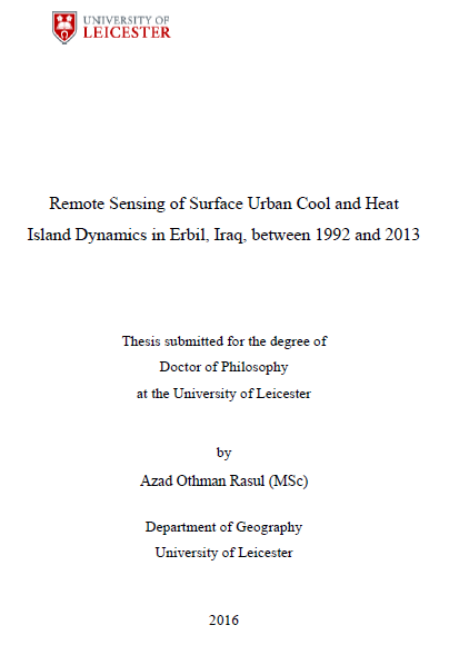 Remote Sensing of Surface Urban Cool and Heat Island Dynamics in Erbil, Iraq,  between 1992 and 2013
