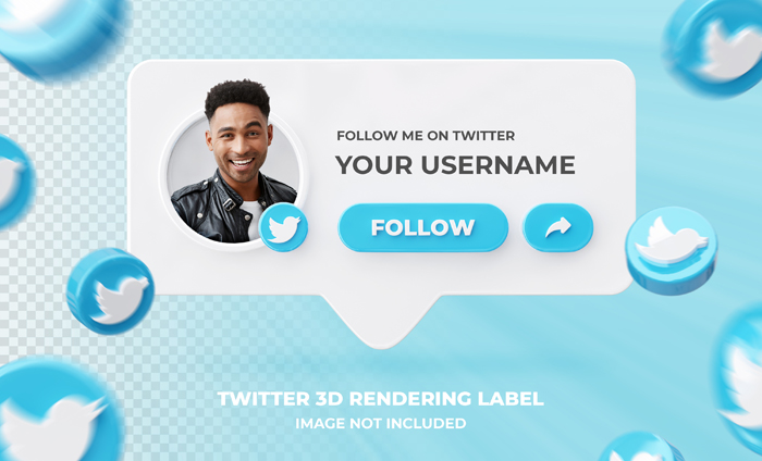 Banner Icon Profile Twitter 3D Rendering Label Template