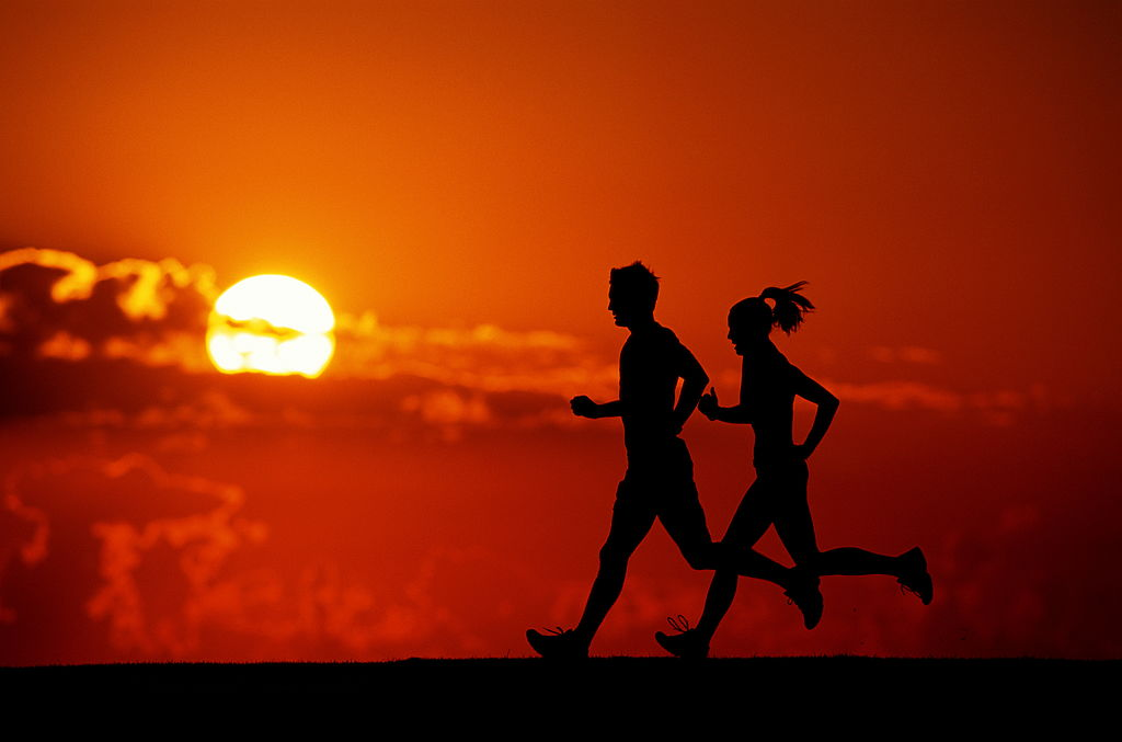 running, sunset, couple