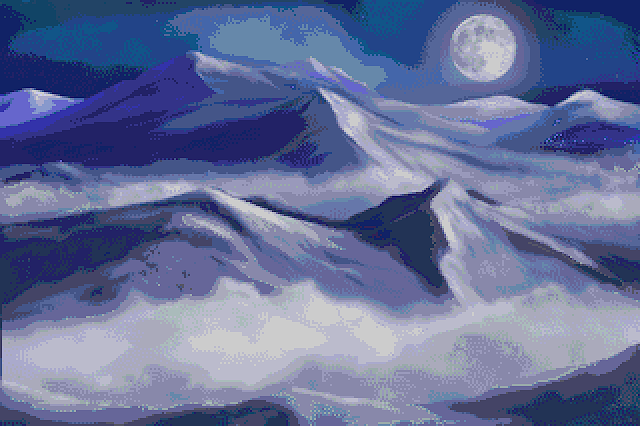 Mountain artwork, commodore amiga art, mark Taylor