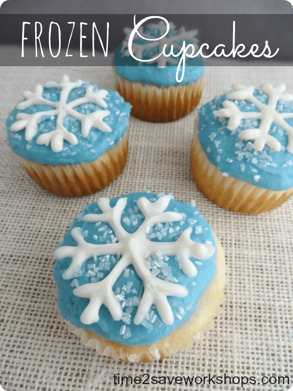 Disney Inspired Frozen Movie Snowflake Cupcakes