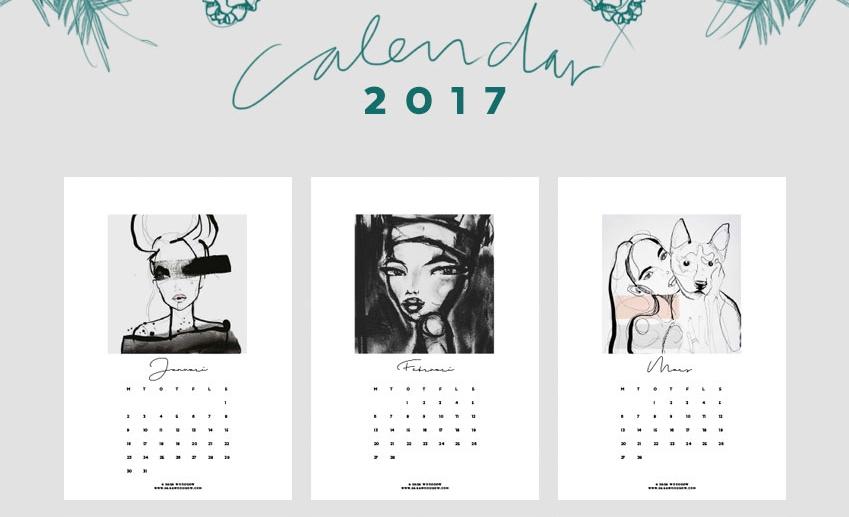 piękny kalendarz 2017 do druku do pobrania za darmo sara woodrow