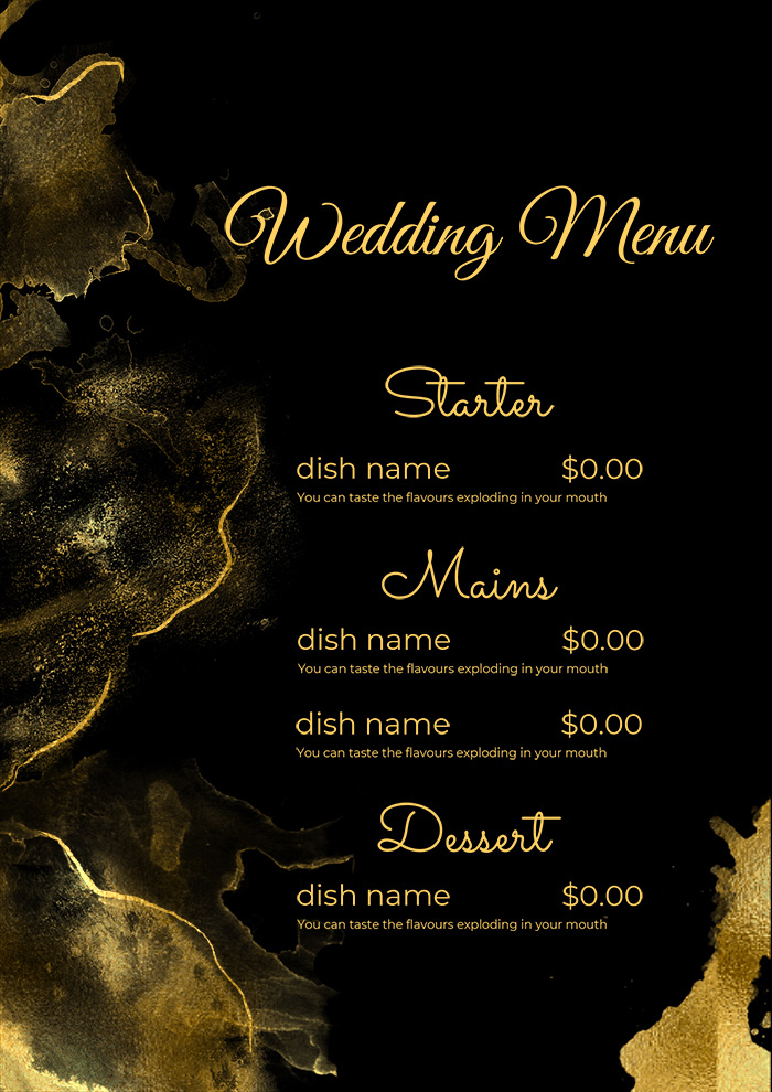 Golden Wedding Invitation Menu Premium Template
