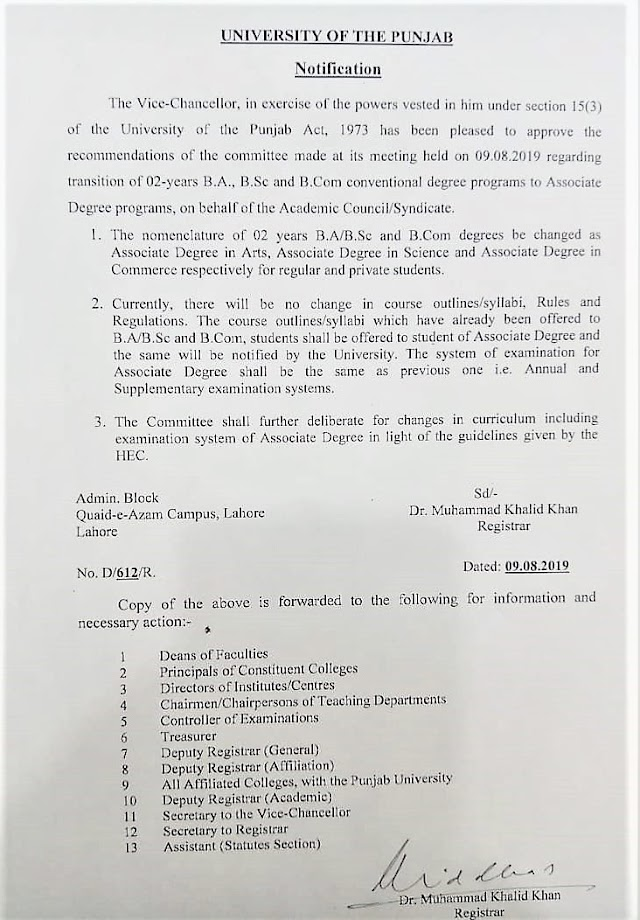 NOTIFICATION REGARDING BACHELOR CONVENTIONAL DEGREE PROGRAMS TO ASSOCIATE DEGREE PROGRAMS BY UNIVERSITY OF THE PUNJAB