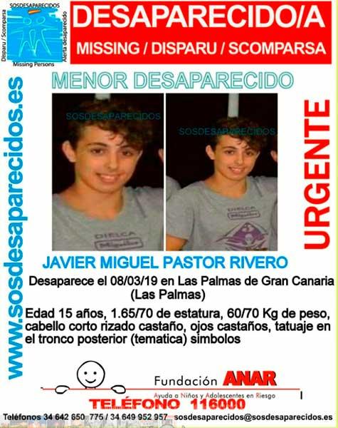 Buscan al menor de 15 años Javier  Miguel Pastor Rivero, desaparecido en Las Palmas de Gran Canaria