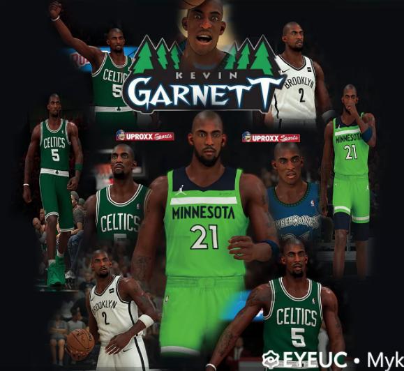Kevin Garnett Cyberface and Body Model 4 Versions by myk [FOR 2K21]