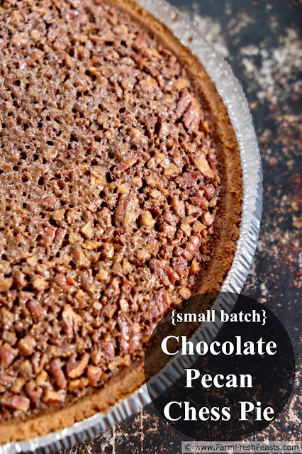 A recipe for chocolate chess pie chock full of pecans. Gooey chocolate in a small serving size pie for a dessert that's just enough when you are fewer around the table.