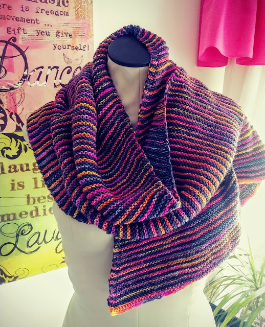 Garter stitch shawl knit with Knitted Wit and Dying for Art yarns